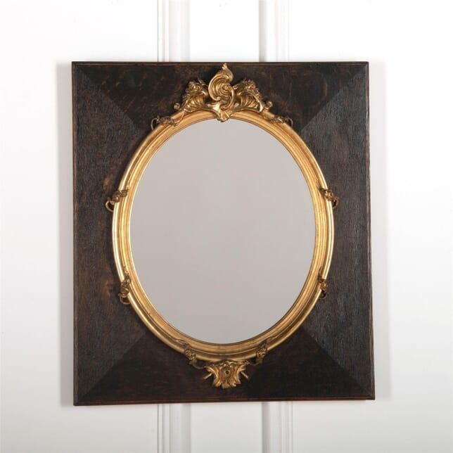 Decorative gilt board-mounted oval mirror MI727540