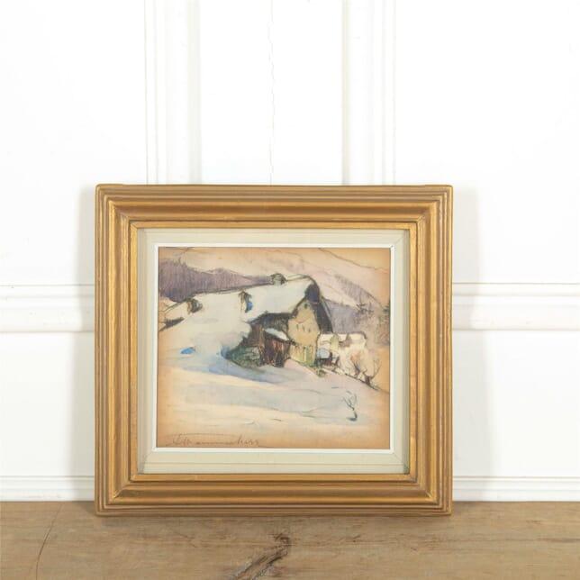 Watercolour and pastel Winter scene WD307604