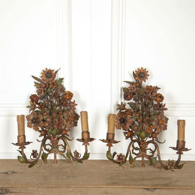 Pair of 19th Century Flower Wall Lights LW607651