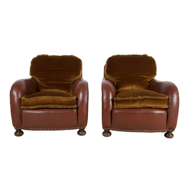 Pair of 1940s Leather Club Chairs CH2312619