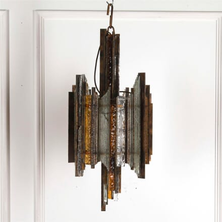 Brutalist Murano Crystal and Iron Pendant Light LC5361783