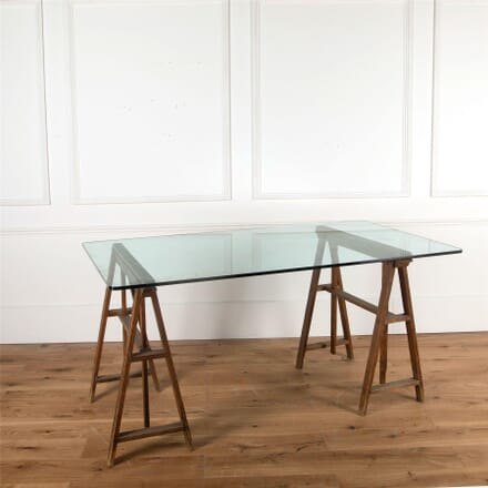 Glass Top Trestle Table Console CO377482