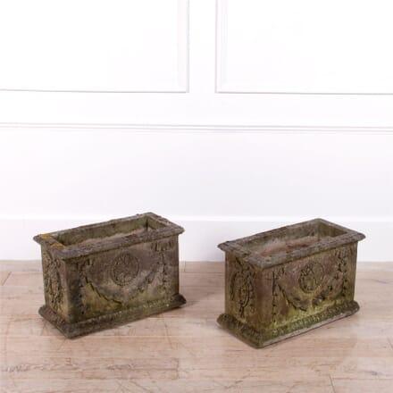 Pair of Weathered Adam Style Stone Planters GA0961992