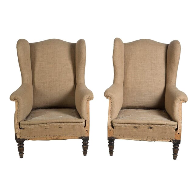 Pair of French Wingback Armchairs CH2855172
