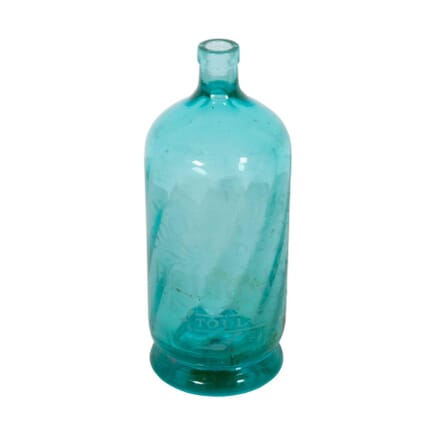 French Etched Turquoise Glass Water Bottle DA9060570