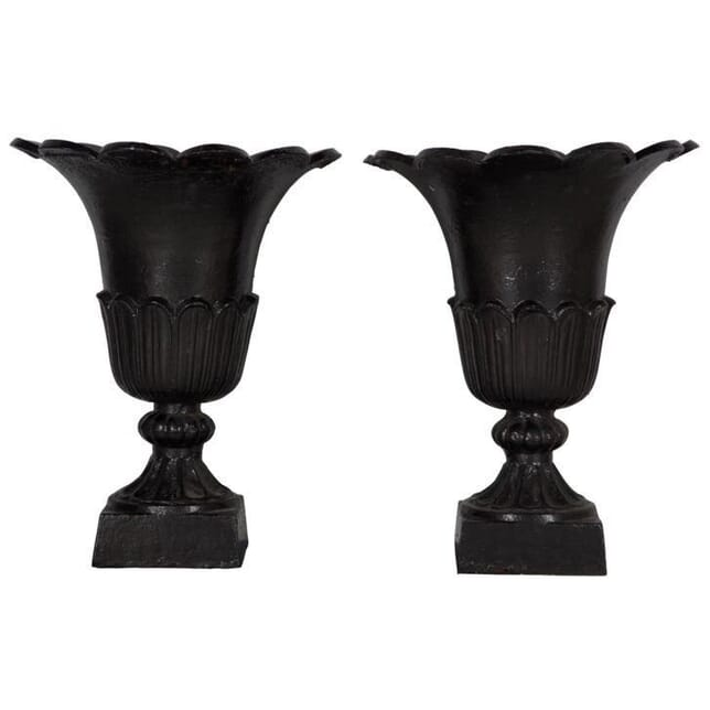 Pair of  Victorian Cast Iron Urns GA994483