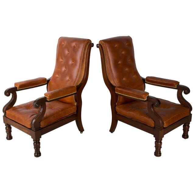 Geo IV Pair of Mahogany and Leather Library Chairs CH0360717