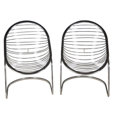 Pair of Chrome Egg Chairs CH3757048