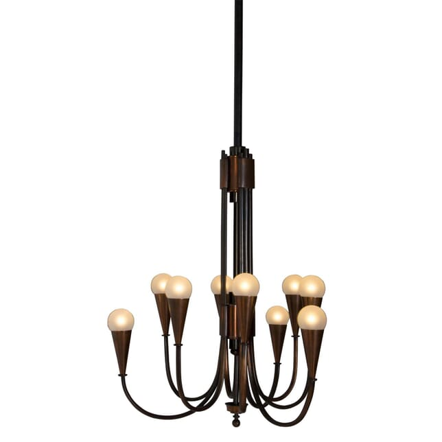 9 Branch Oxidised Copper Chandelier LC2110526