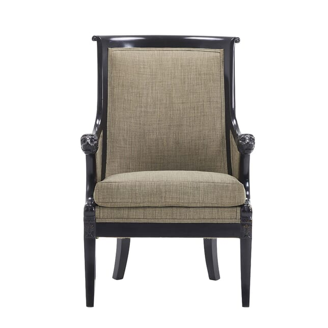 19th Century French Ebonised Armchair with Carved Lions Heads CH0662265