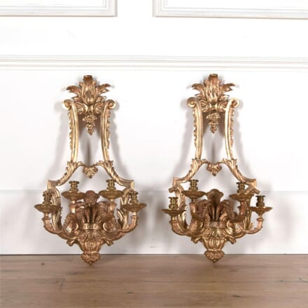 Large Pair of 19th Century Gilt Brass Wall Lights LW4762174