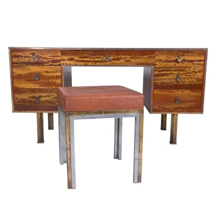 Laquered Steel and Brass Desk by Maison Jansen with Stool DB5759877