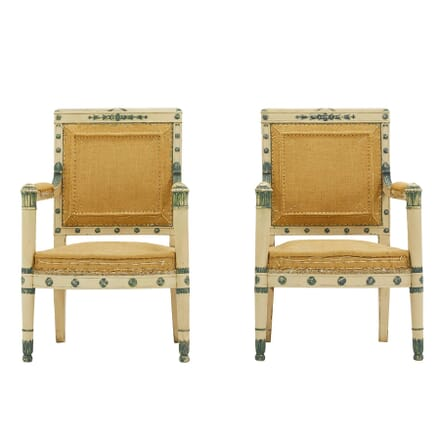 French 19th Century Carved Wood Painted Chairs CH0661660