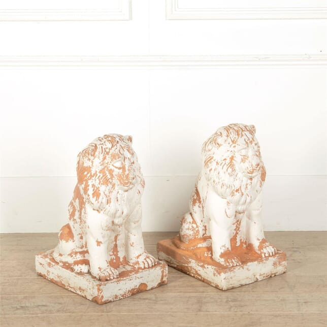 Pair Of Terracotta Lions GA157054
