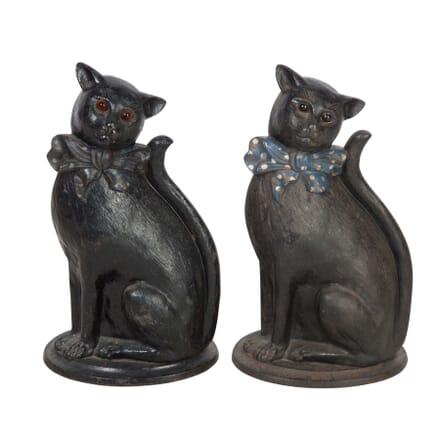 Pair of Cast Iron Cat Doorstops DA5558035