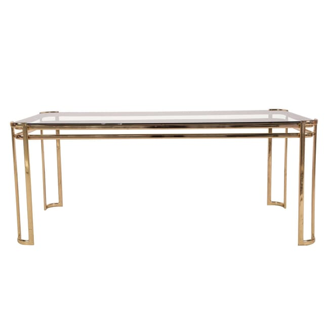 Mid Century French Glass And Brass Coffee Table In Style Of Jacques Quinet CT5959954
