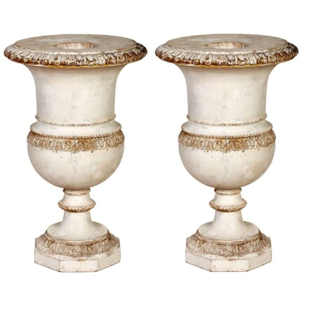 Pair of Carved Wooden Urns GA1354656