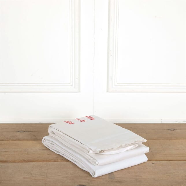 Pair of French Linen Sheets with Initials DA447681
