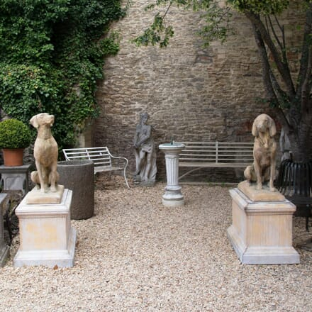 Large Pair of Composition Stone Jaquemart Hunting Dogs GA4261645