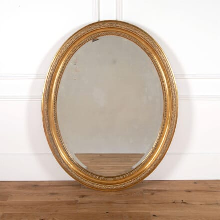 Large 19th Century French Oval Gilt Wood Mirror MI9961439
