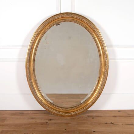 Large 19th Century French Oval Gilt Wood Mirror MI9961439