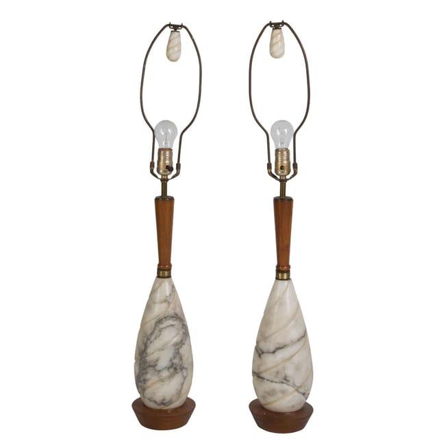 Midcentury Italian Marble and Teak Lamps LT9910367