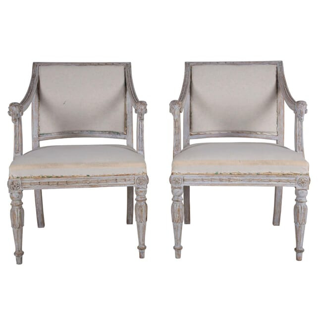 Pair of 19th Century Swedish Rams Head Chairs CH6060668