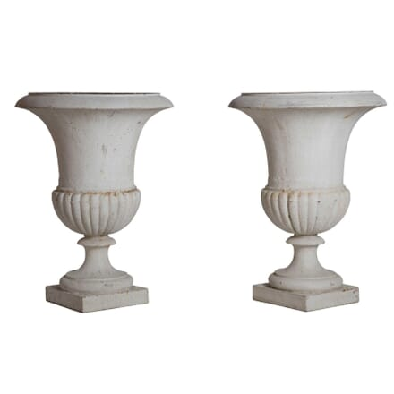Pair of Painted French Cast Iron Urns GA1212718