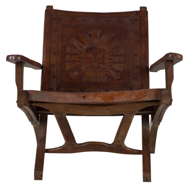 A Meranti Wood and Leather Folding Armchair CH277027
