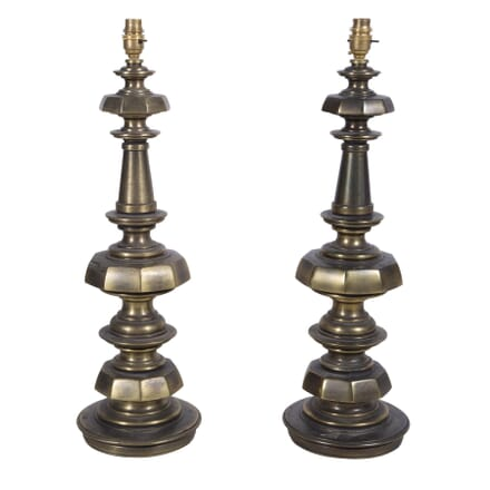 Pair of Brass Facetted Lamps LT7260201