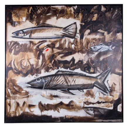 Large Contemporary Oil On Canvas Fish Painting WD3759117
