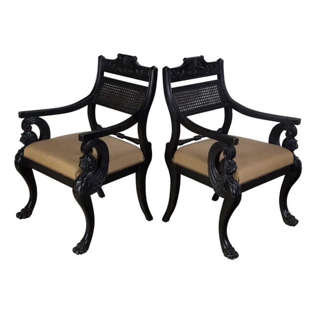 Pair of Ebonised Armchairs in the Manner of Thomas Hope CH9955999
