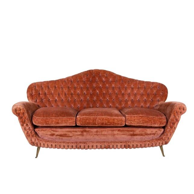 1950s Midcentury Italian Button Back Velvet Sofa SB2860814