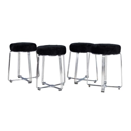 Set of 4 Chrome Aluminium Bar Stools ST5358104