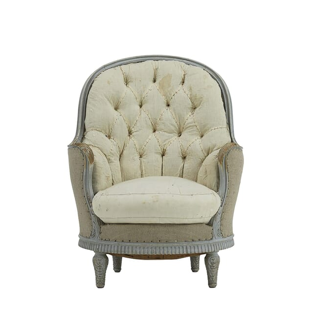 19th Century French Painted Carved Wood Armchair CH067628