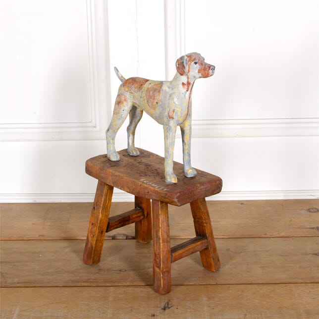 Sculpted Dog Statue On A Wooden Base DA287304