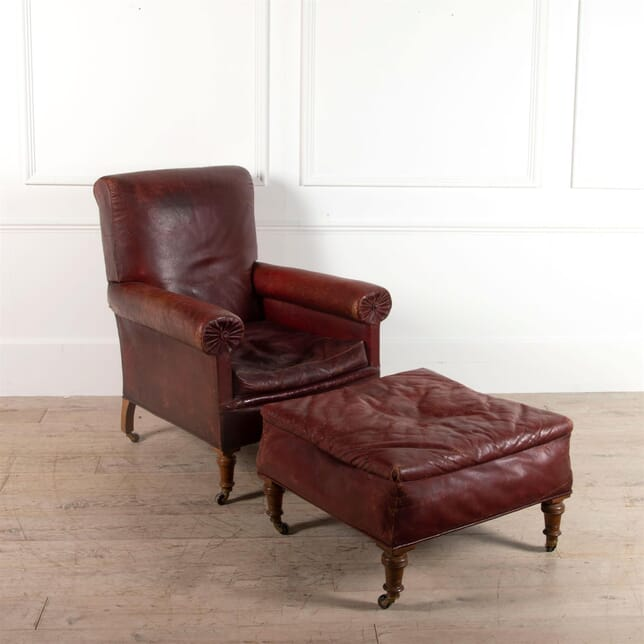 19th Century Leather Library Armchair and Footstool CH0161494