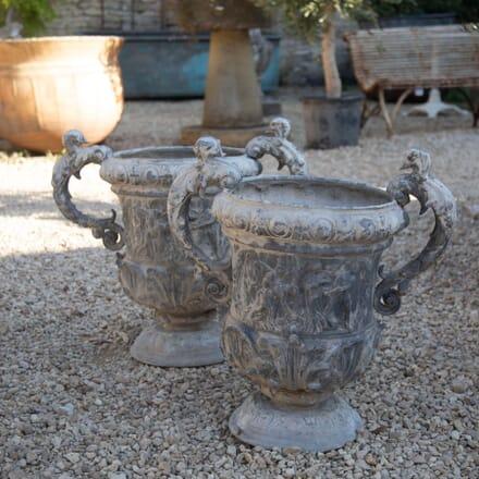 Large Pair of Ornate Lead Garden Urns GA337428