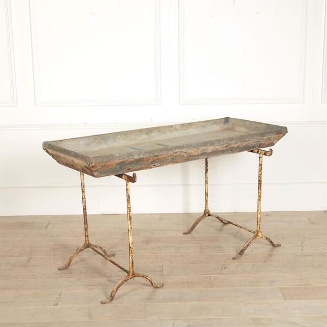 19th Century Lead Sink / Planting Table On Trestles DA97260