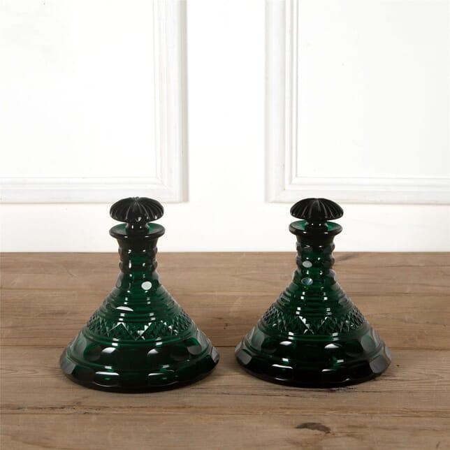Pair Green Glass Ships Decanters DA587340