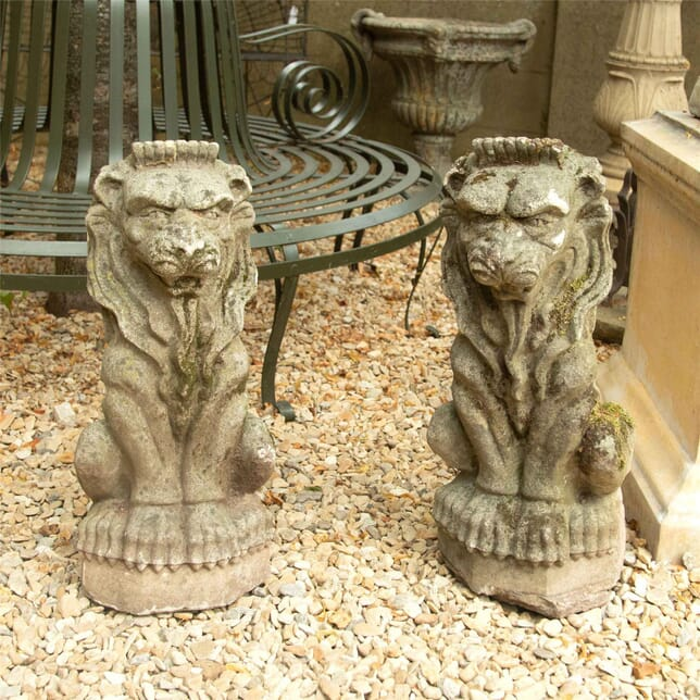 Pair of 20th Century Stone Composition Seated Lions GA4262484