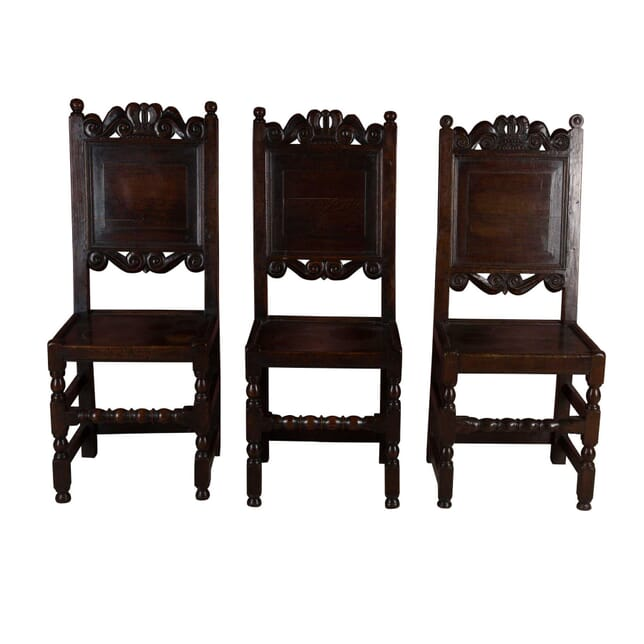 Set Of 3 English Oak 17th C Wainscott Hall Chairs With Coronets CH4458652