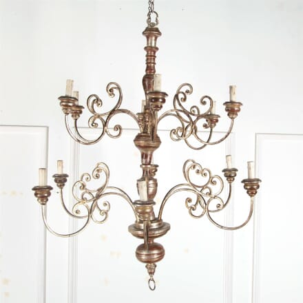 Large Spanish Silver Gilt Iron and Gilt wood Chandelier LC4562673