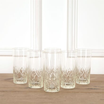 Six 19th Century Cut Glass Tall Tumblers DA5862035