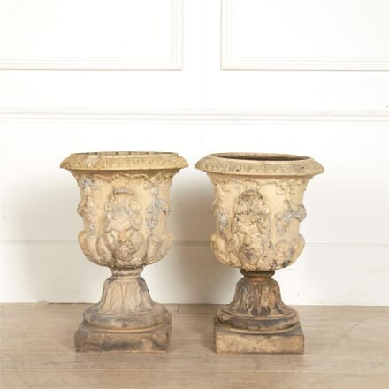 Pair of 19th Century Buff Terracotta Garden Urns By Garnkirk GA097256