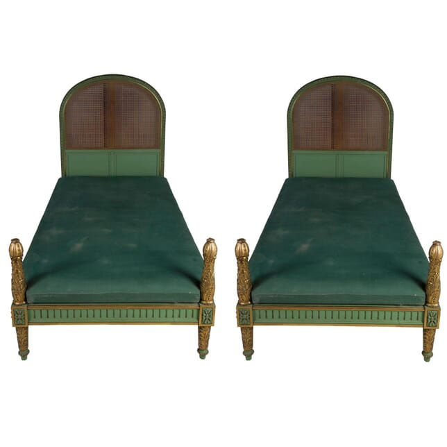 Pair of Carved Gilt and Cane Bed Frames OF5856547