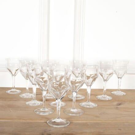 Set of Six Val Saint Lambert Crystal Wine Glasses DA5860935