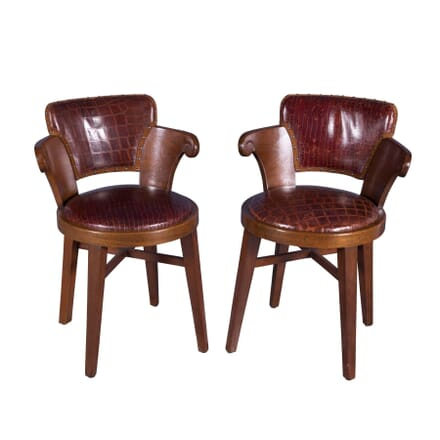 Pair of 20th Century Leather Tavern Chairs CH4358573