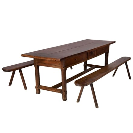 Walnut Refectory Table and Matching Benches TD106008