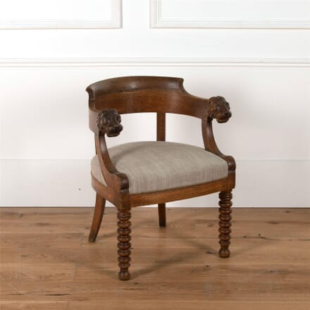 19th Century French Lion's Head Oak Desk Chair CH0161983